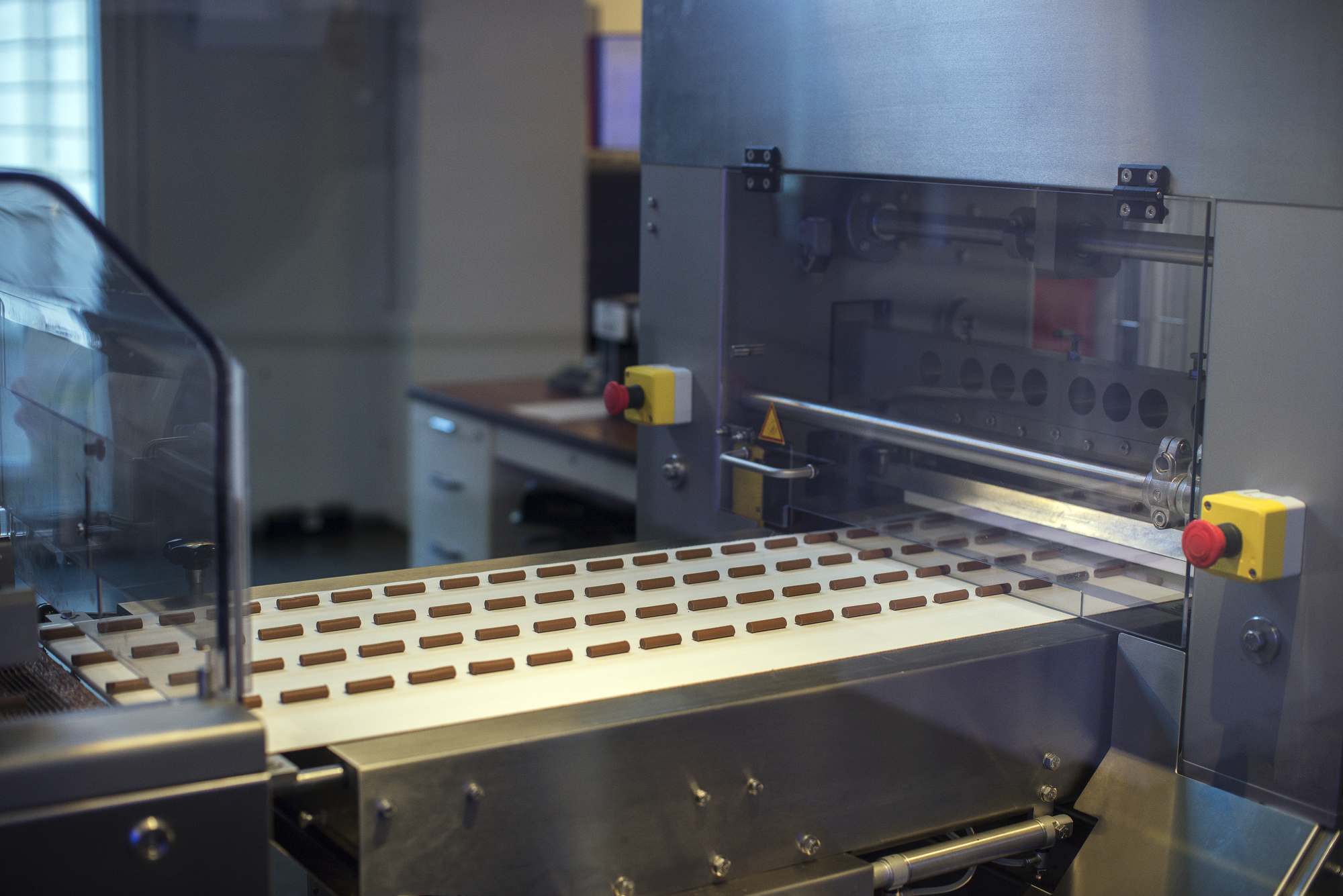 Sweets on a chocolate factory conveyor