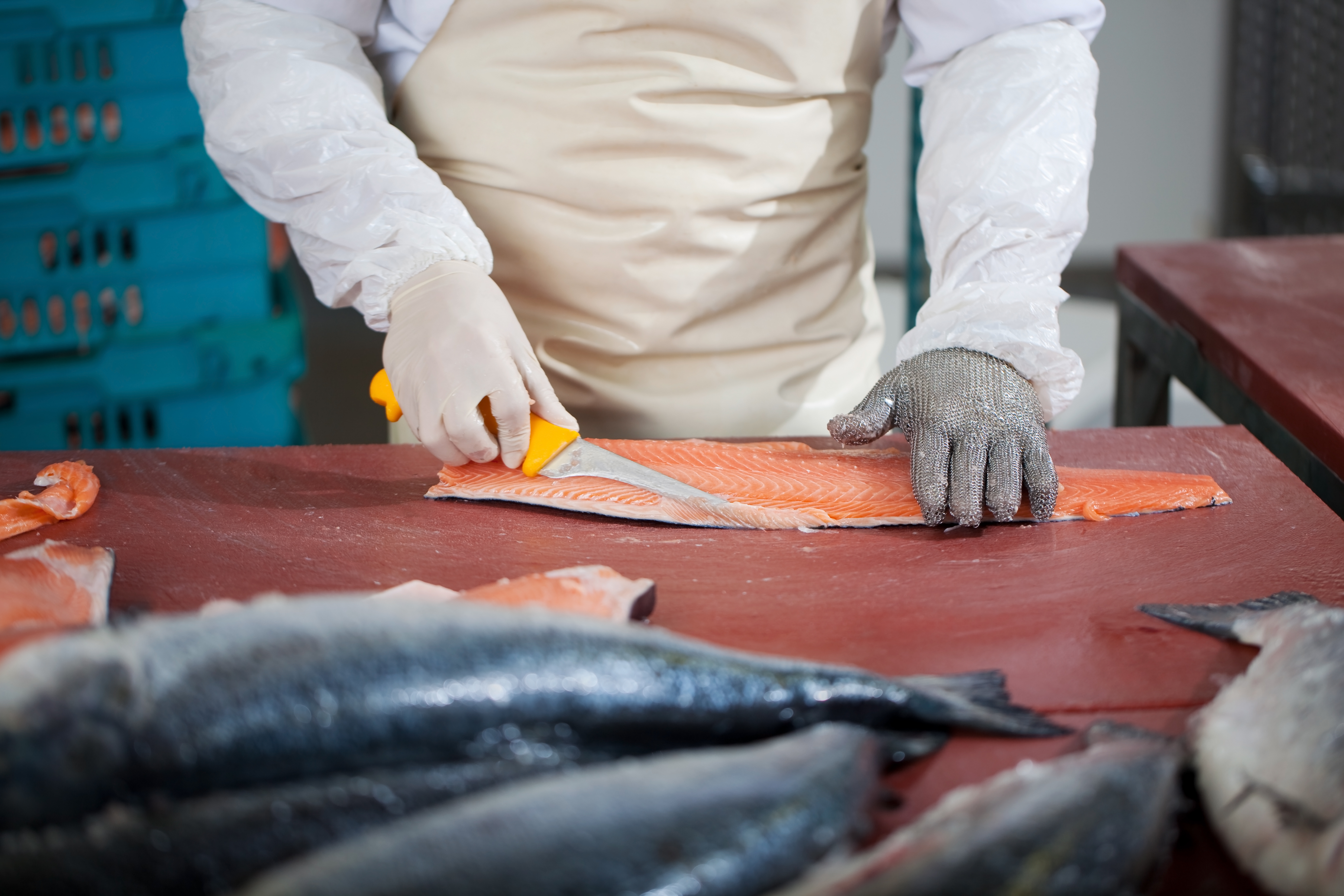 Midsection of worker slicing fish at table
